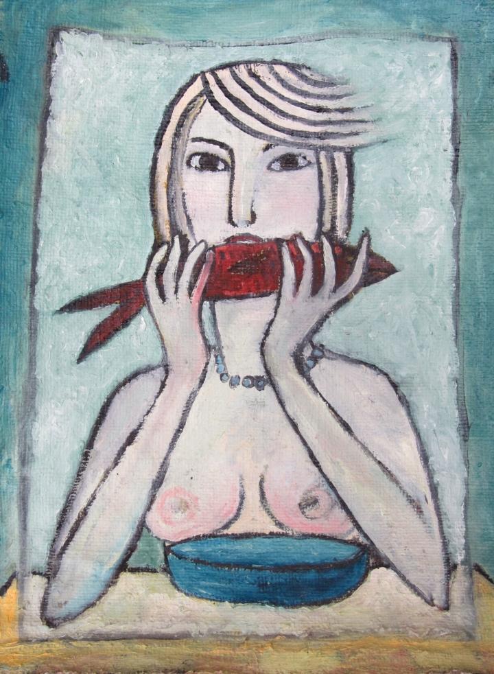 Mujer comiendo pescado